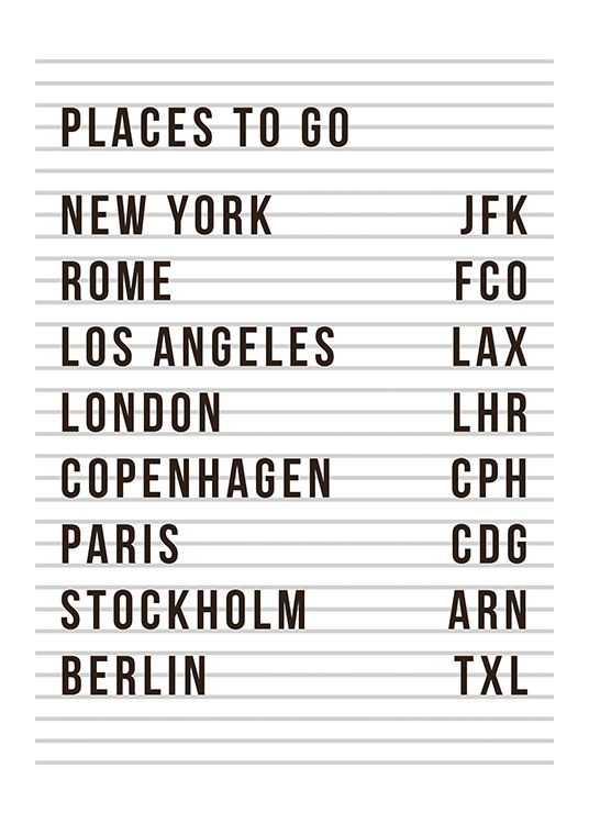 - Text print with an airport table in black and white with a list of cities and airports to personalise
