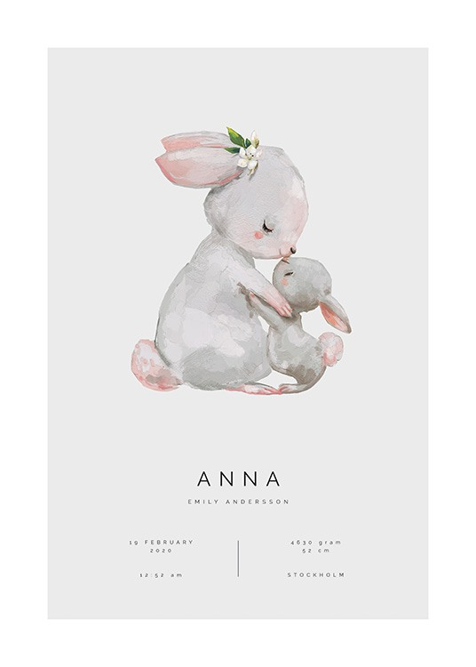 – Illustration of a bunny embracing her baby bunny, against a grey background and text underneath