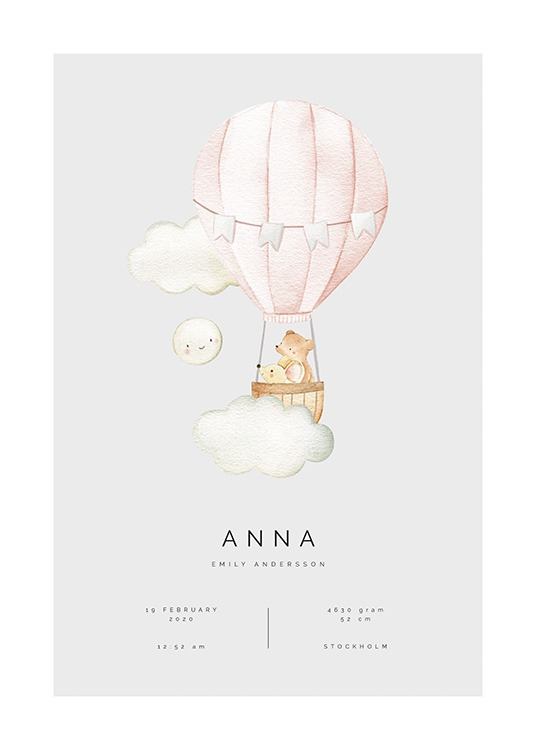 – Illustration of bears flying a pink air balloon, with clouds and a moon surrounding it