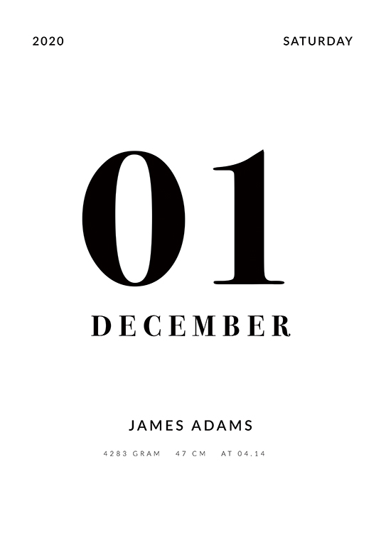 – Black and white text poster with birth date, name and birth details