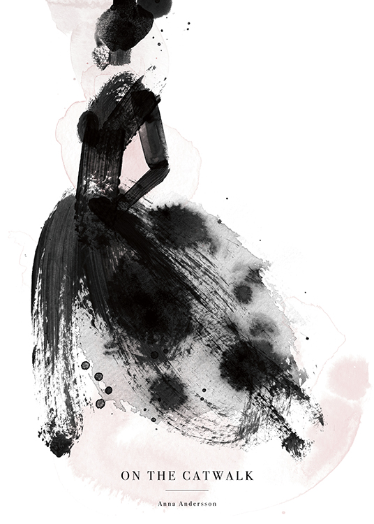 – Watercolor illustration of a woman in a black dress and pink paint splatters, and text underneath