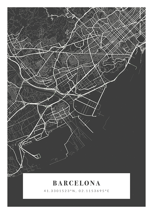 – Grey and white city map with city name and coordinates at the bottom