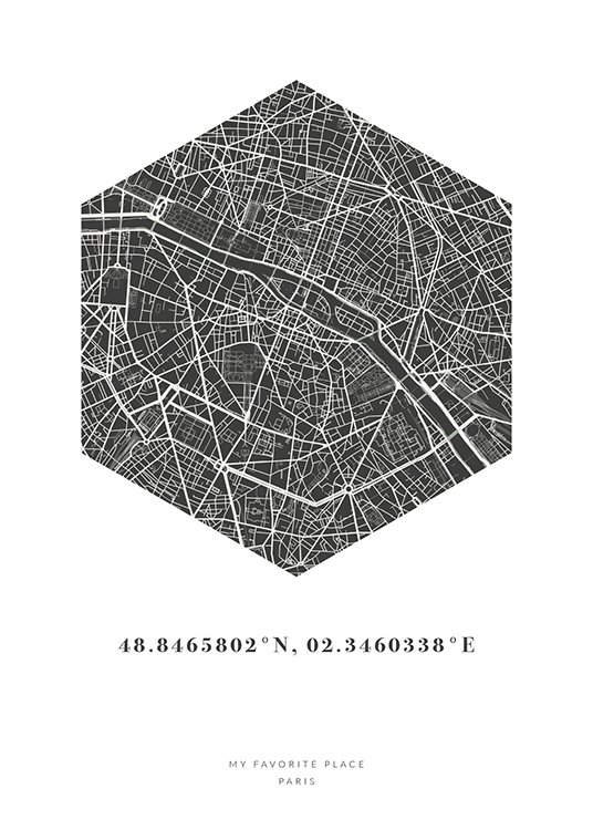 – Hexagon city map in black and white with coordinates and text underneath