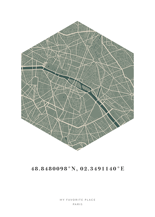 – Hexagon shaped city map in beige and green with coordinates and text at the bottom