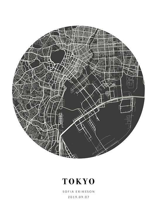 – Black and white city map in the shape of a circle with text at the bottom