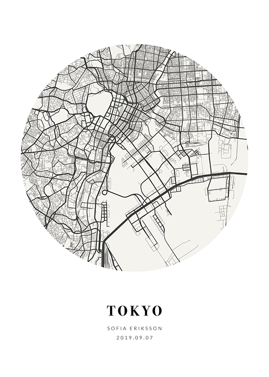 – Grey-scale circular city map with text at the bottom