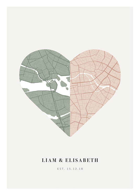 – Heart-shaped city map in green and pink on background in light grey with text at the bottom