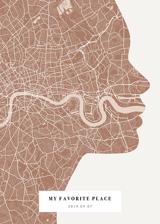 – City map in pink and off-white shaped like a face silhouette, with text at the bottom