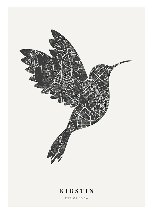 – City map in black and white in the shape of a bird with text at the bottom