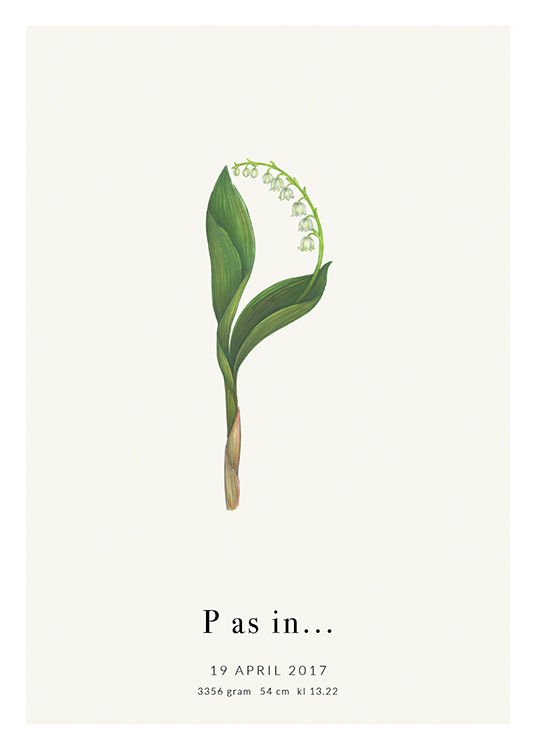 – The letter P shaped by a Lily of the Valley, with text at the bottom