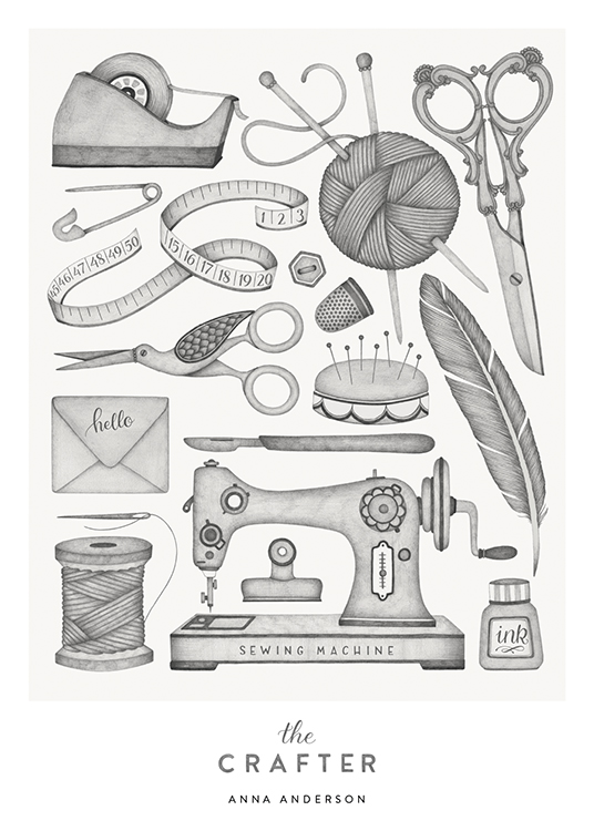 – Arts and crafts supplies sketched in grey with text at the bottom
