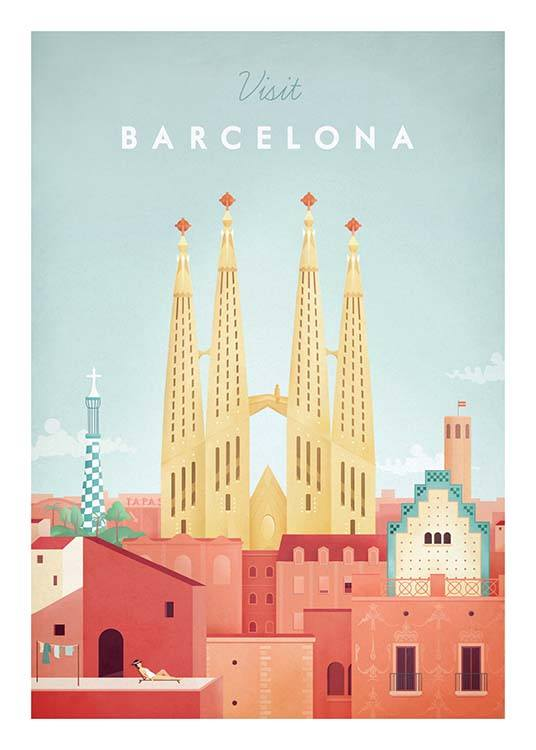 Barcelona Travel Poster / Vintage at Desenio AB (pre0006)