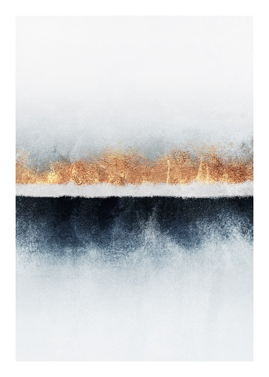 - Abstract painting of a horizon painted in blue and gold