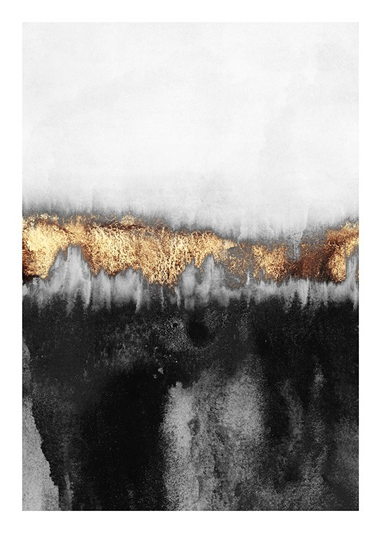 - Painting of abstract design in light grey and black with gold colored details