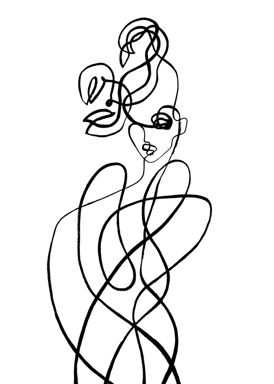 – Abstract illustration in line art of a body with claws above its head, inspired by the sign of Scorpio