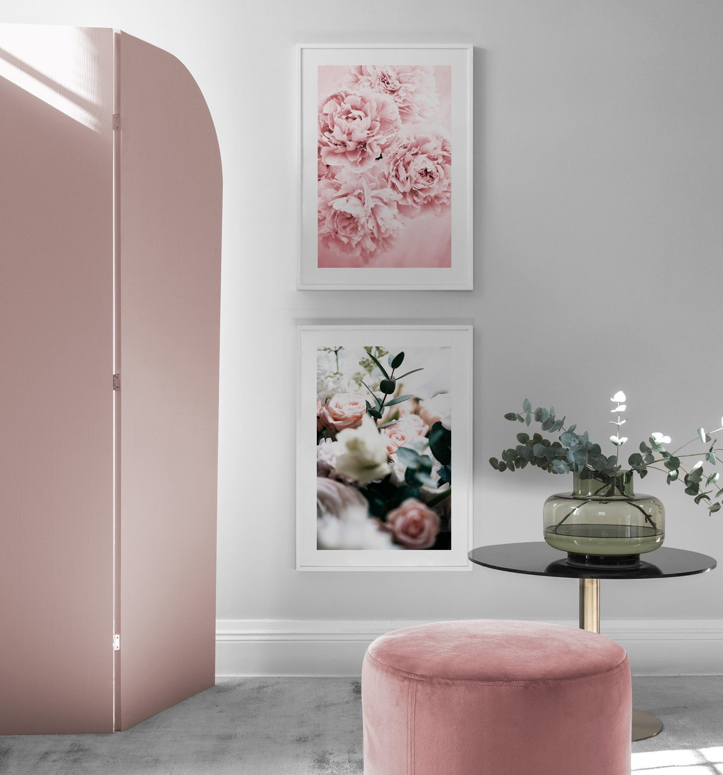 Feminine interior with flower posters and white picture frames