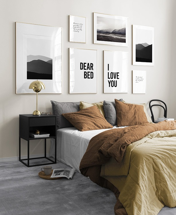 Bedroom in white, brown and yellow