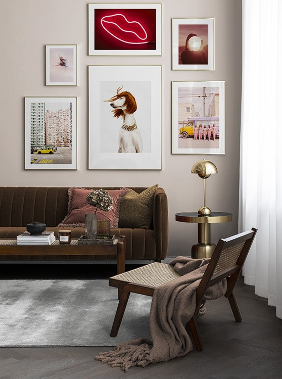 Pink and red photo art in retro living room