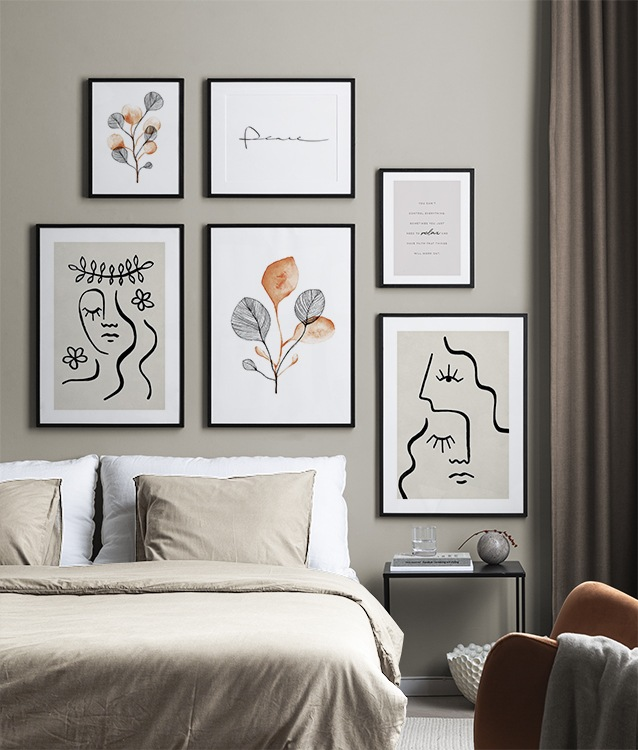 Beige and white illustrations