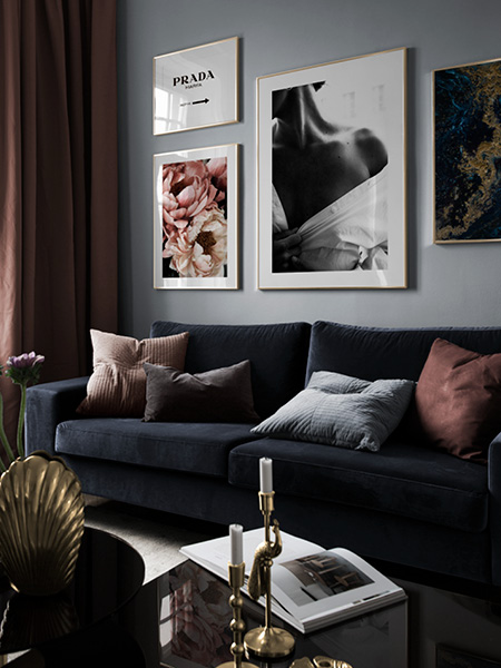 Modern prints from Desenio. Four framed posters on the wall.